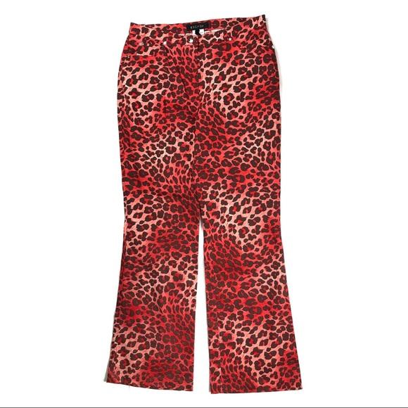 70e816d71458 Escada Pants | Red Leopard Animal Print Bootcut | Poshmark